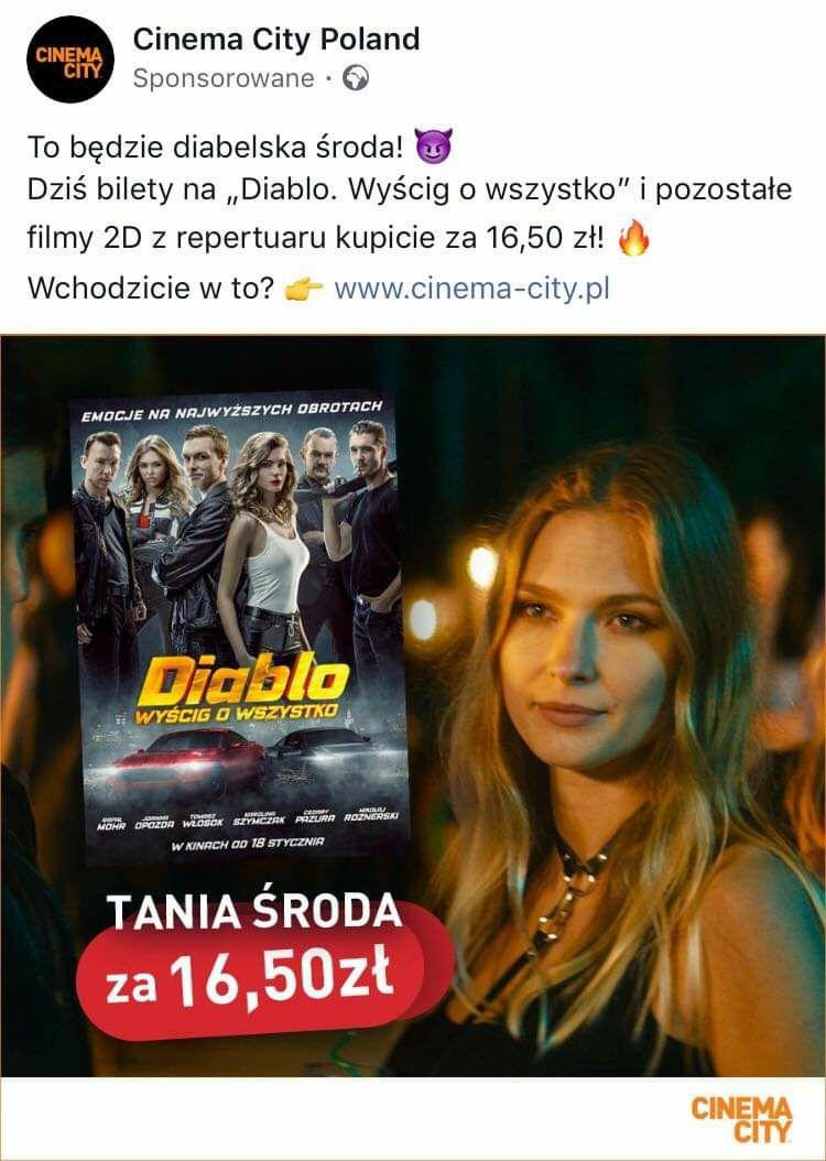 Tania środa - filmy 2D (np. Diablo) za 16,50zł @ cinema city