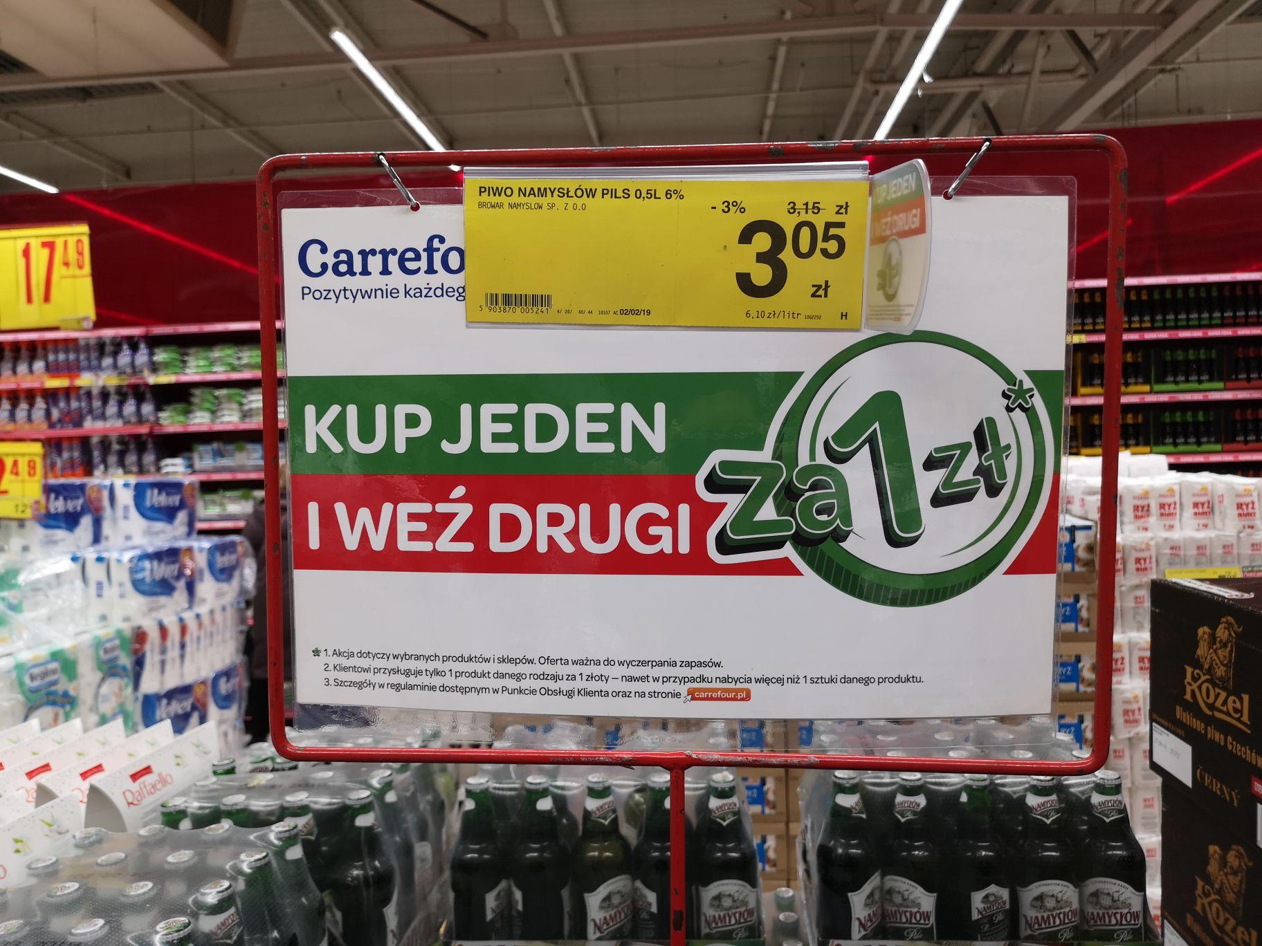 Piwo Namysłów butelka bezzwrotna za 1,53 zł przy zakupie dwóch (Carrefour)