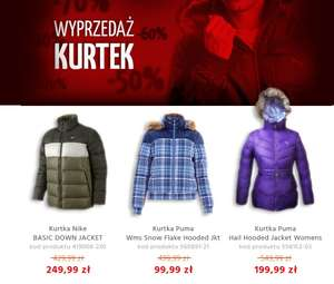 Wyprzedaż kurtek do -70% w Sportowysklep.pl