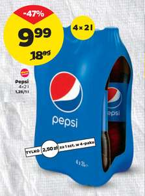 Pepsi 4x2L (1,25zł/L) @Netto