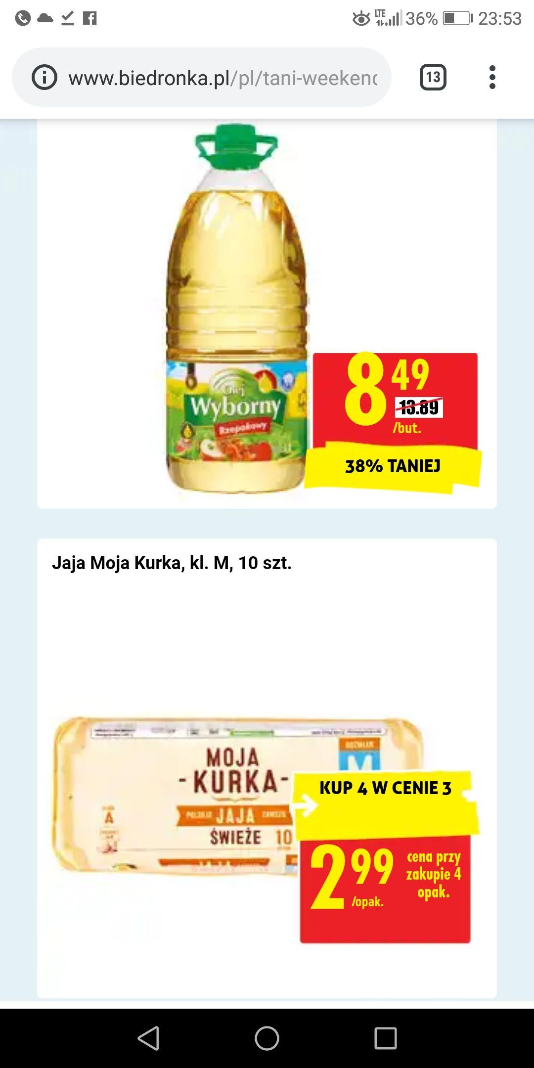 Jajka 4 opak. w cenie 3, olej 3l 8,49