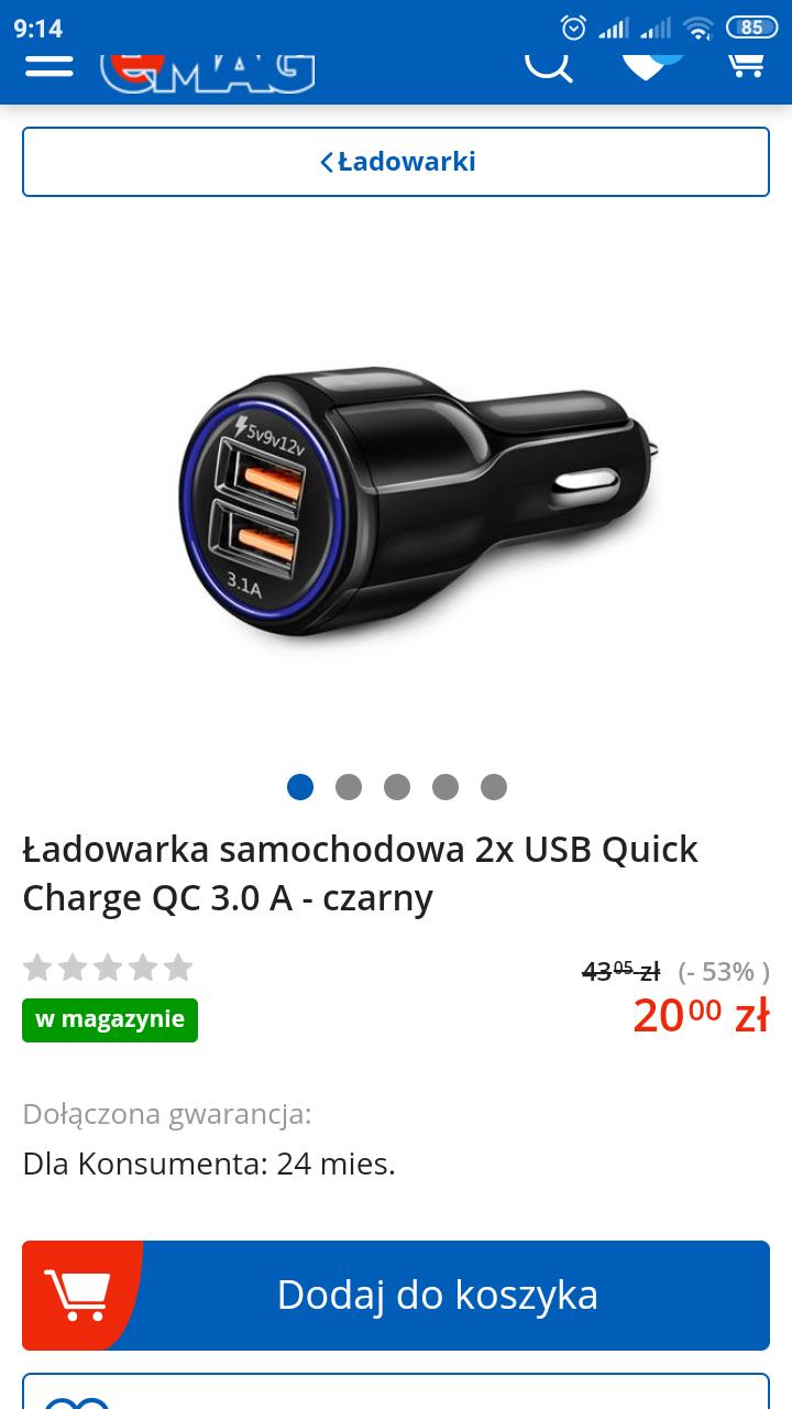 Ładowarka samochodowa quick charge?