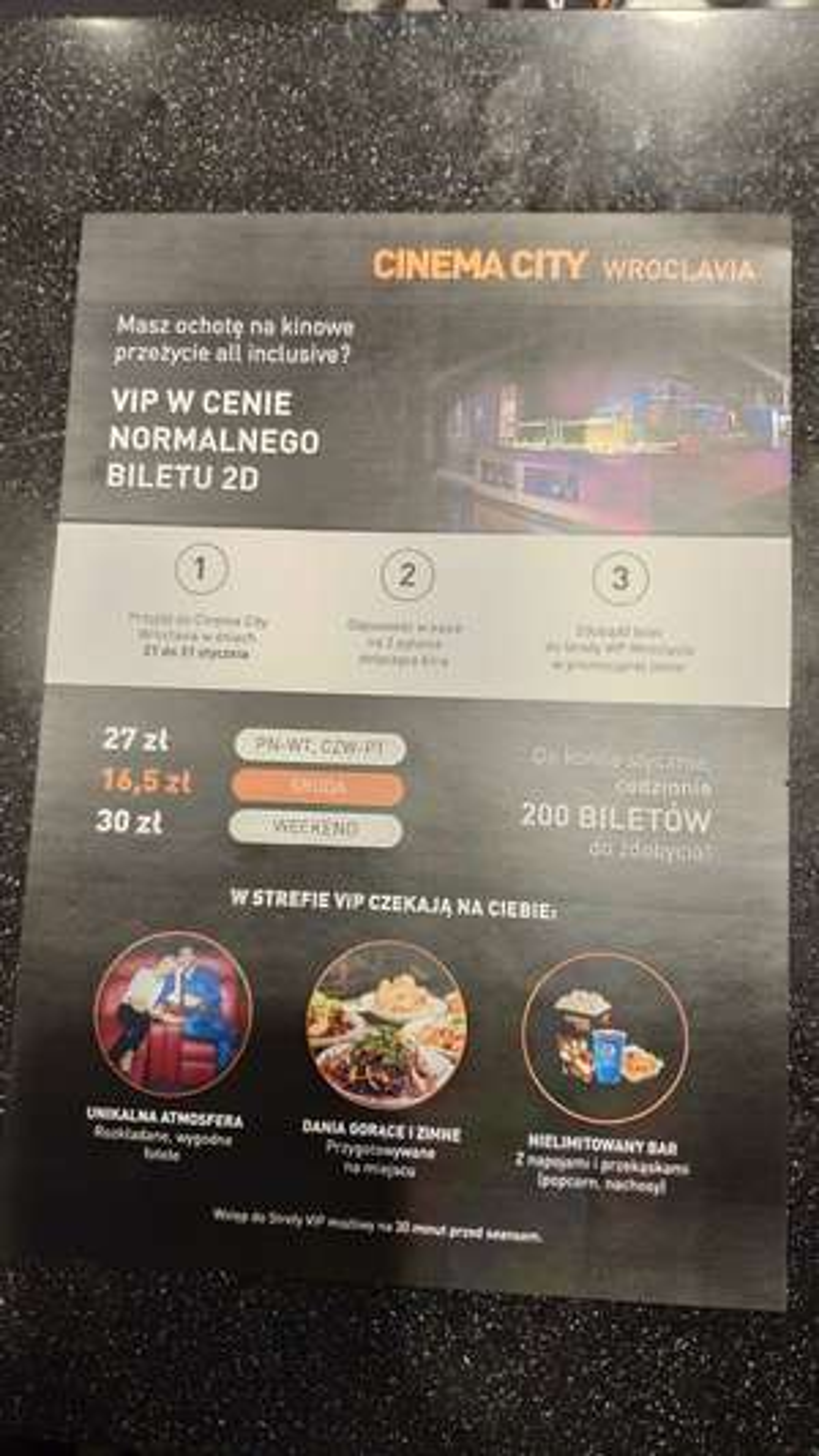 Bilety VIP CINEMA CITY ZA 30/27/16,5 ZŁ