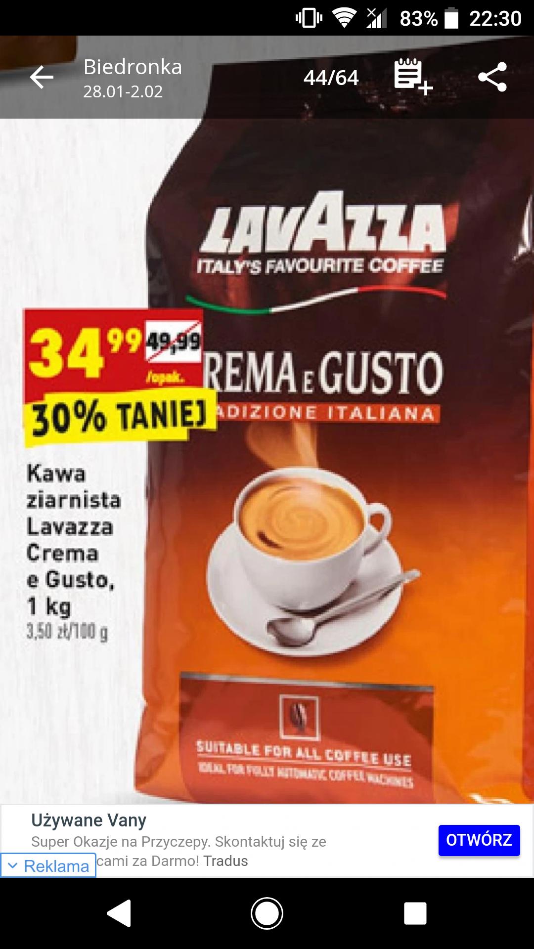 Kawa ziarnista Lavazza crema. Biedronka