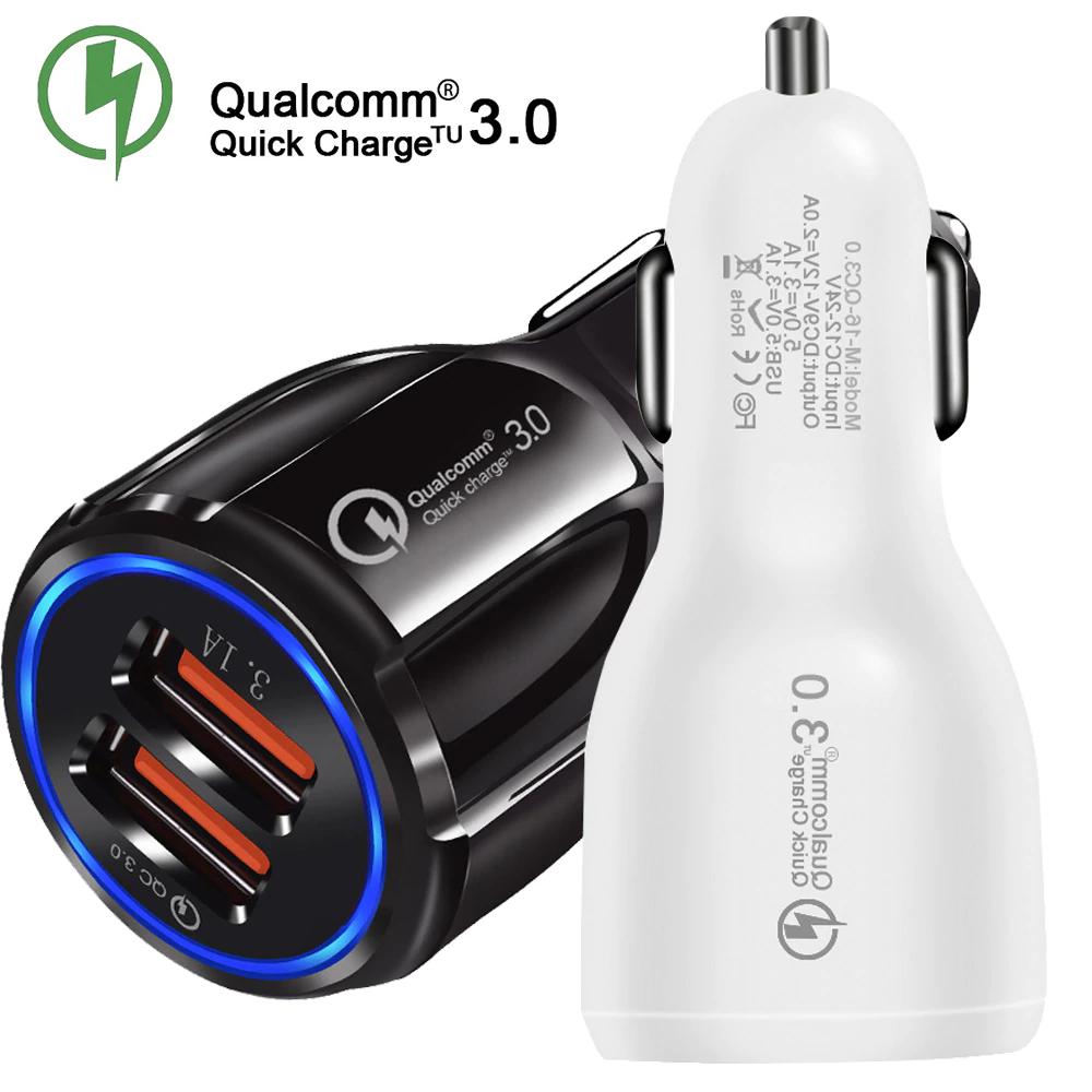 Ładowarka USB Lieve Car Szybka ładowarka 3.0 2-portowa ładowarka samochodowa USB do iPhona Samsung Tablet Ładowarka samochodowa