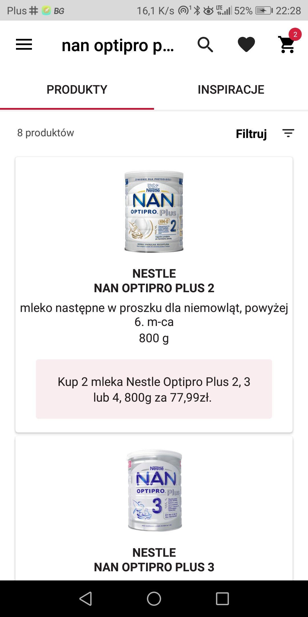 2 sztuki Nestle NAN Optipro Plus 2,3,4 - 800g.