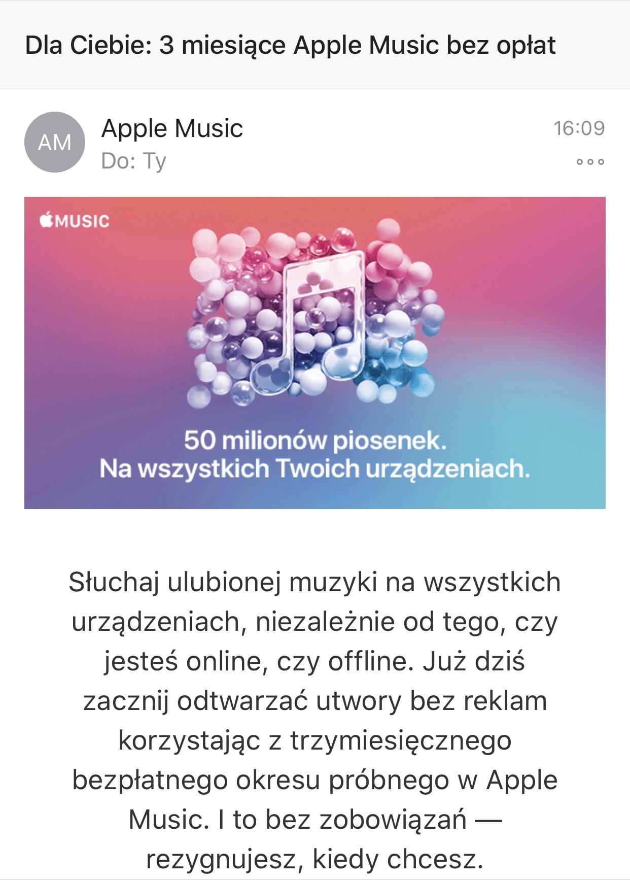 Apple music 3 miesiące za darmo dla nowych użytkowników