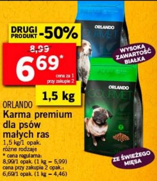 Karma premium dla psów małych ras Orlando 1,5kg/6,69zł @Lidl