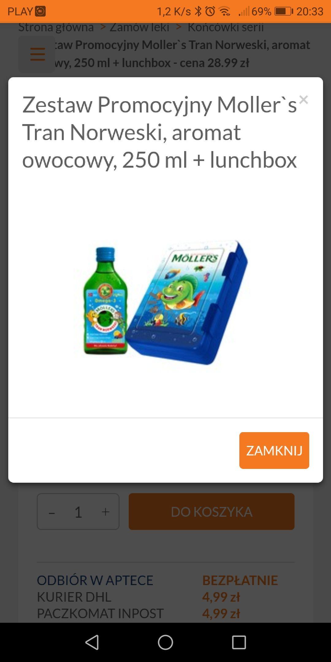 Zestaw Promocyjny Moller`s Tran Norweski, aromat owocowy, 250 ml + lunchbox