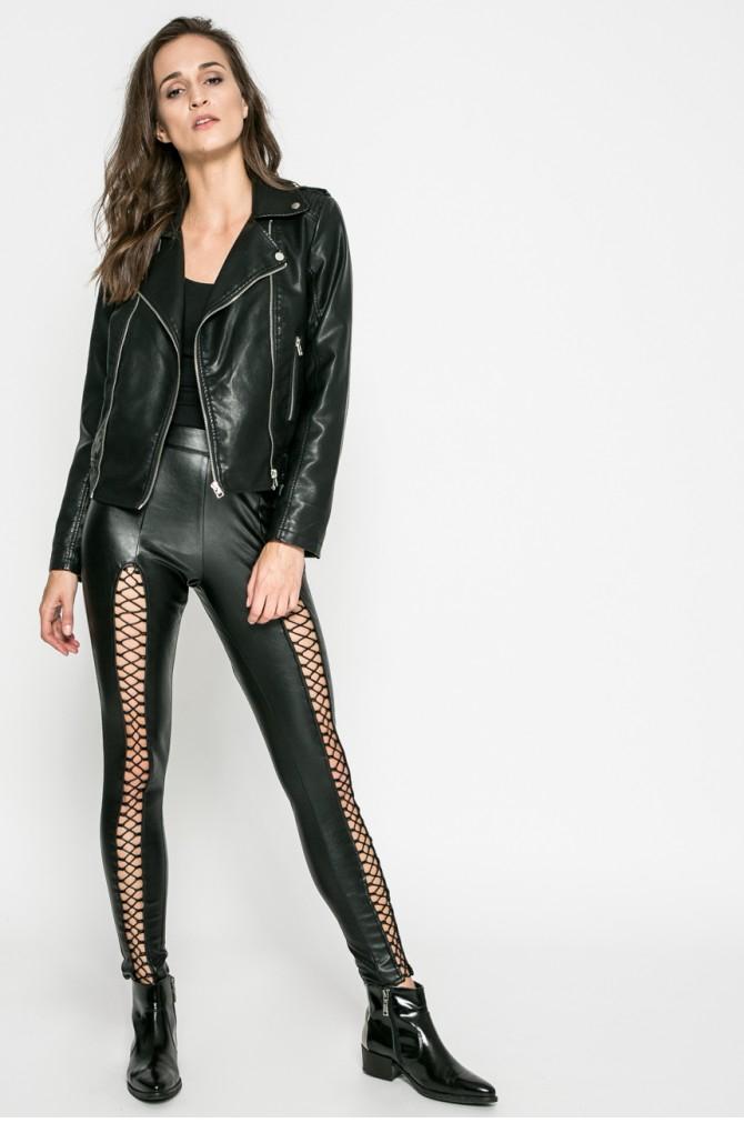 Czarne, kobiece legginsy, imitacja skóry, rozmiar 34, 36, 38, przecena na Answear, darmowa dostawa