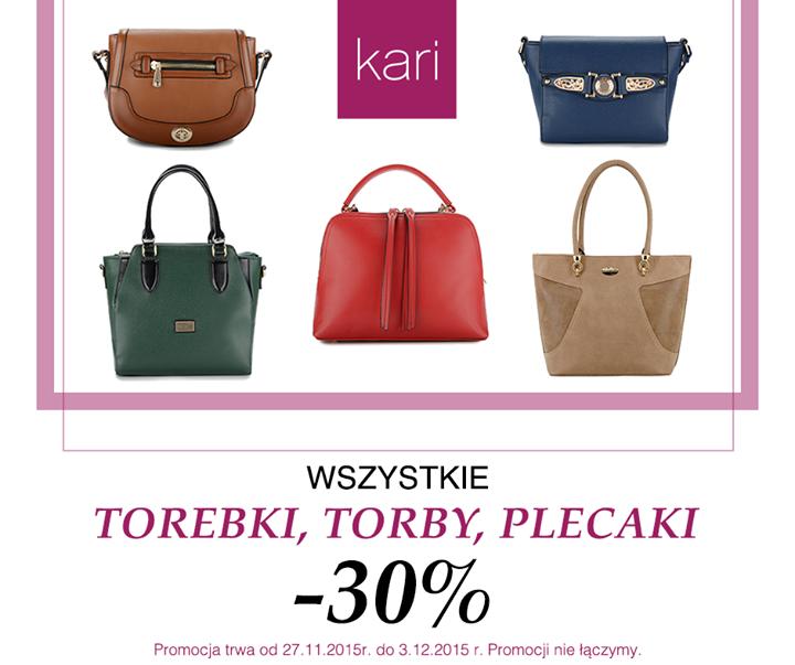 30% zniżki na torby i plecaki @ Kari