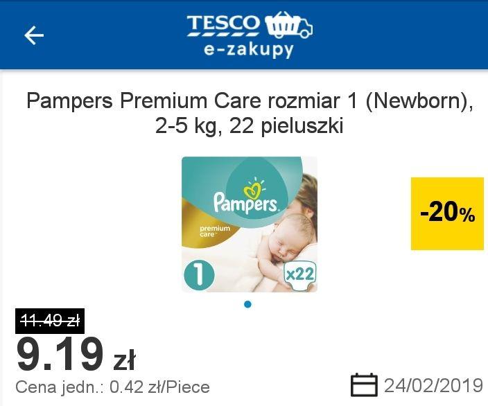 Pampers Premium Care od 42 groszy za sztukę w Tesco Online