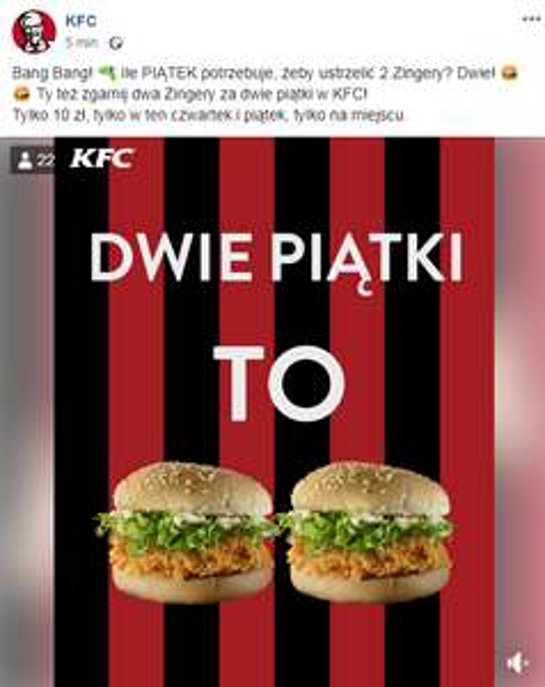 2x Zinger za 10 PLN. KFC ( w lokalu )