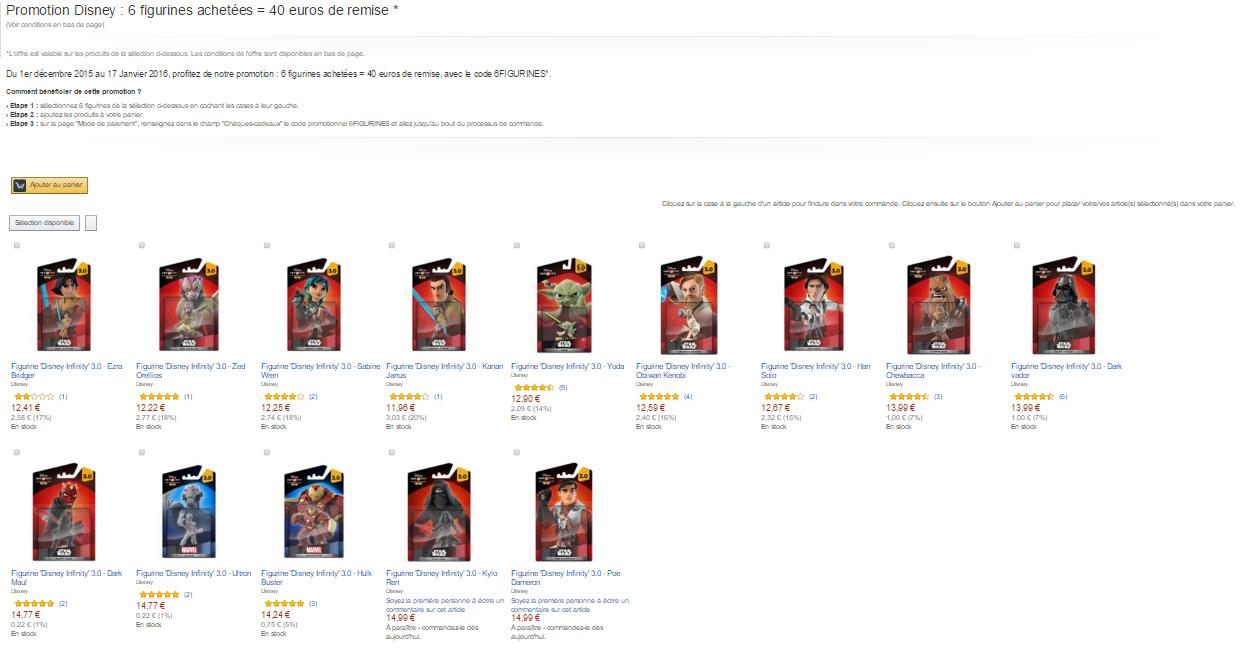 -40 euro (około 166zł) przy zamówieniu 6 figurek Disney Infinity @ Amazon.fr