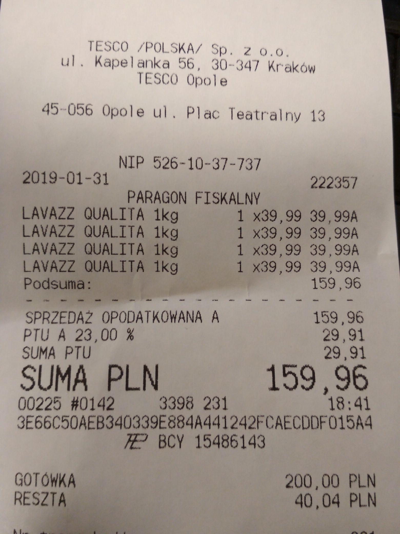 Kawa Lavazza Oro  39,99zl/1kg Tesco