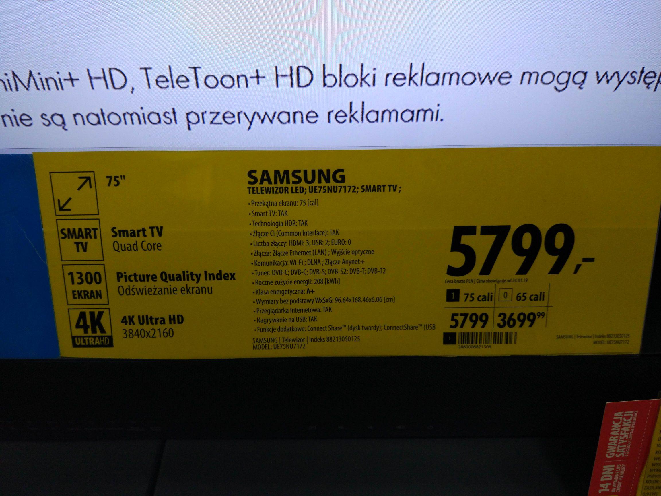 UE75NU7172 5799zl-800zl(od ceny na cenowce) Mielec Media Expert