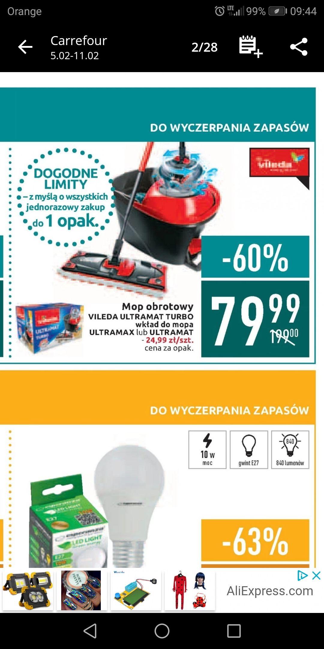 Carrefour mop Vileda Ultramat z obrotową wyciskaczką