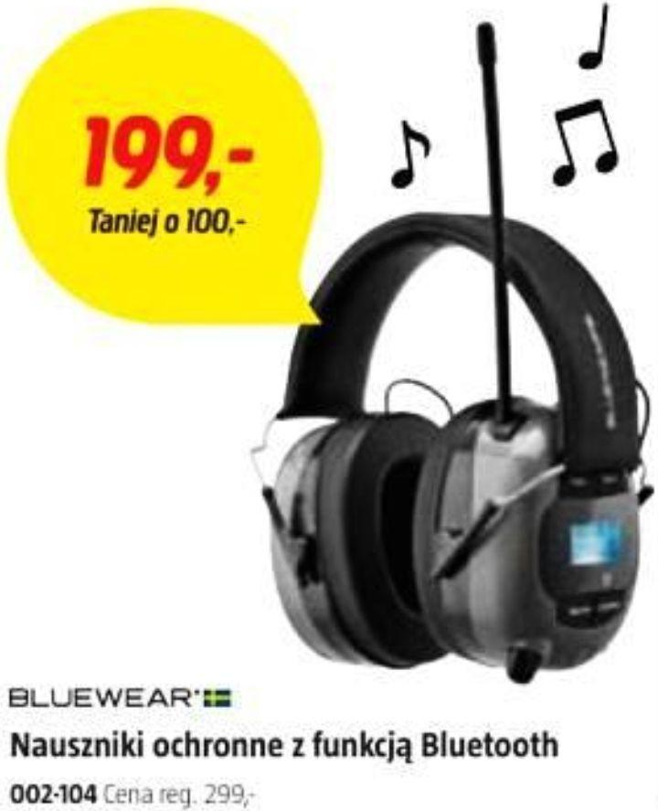 Bluewear 002104 - nauszniki ochronne (SNR 28dB) z Bluetooth + Jack 3,5mm, radiem AM/FM, mikrofonem, aku 500mAh + 3xAAA @ Jula