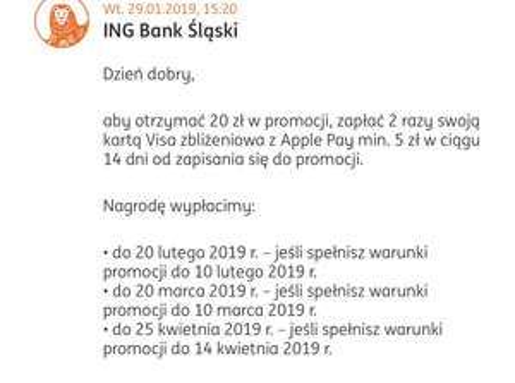 ING promocja 20 zł za płatności Apple Pay