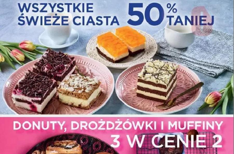 Wszystkie świeże ciasta 50% taniej Biedronka