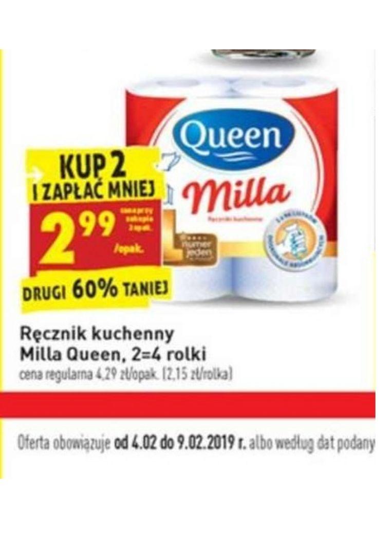 Ręcznik papierowy queen milla.  2.99 przy zakupie dwóch. Biedronka od 4.03