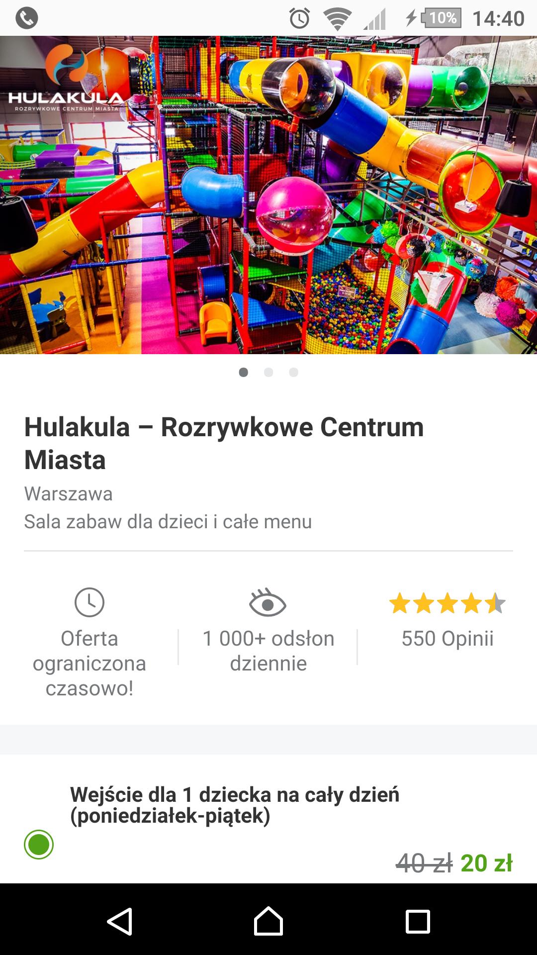 Hulakula Warszawa 50% taniej od Pn do Pt dla dzieci
