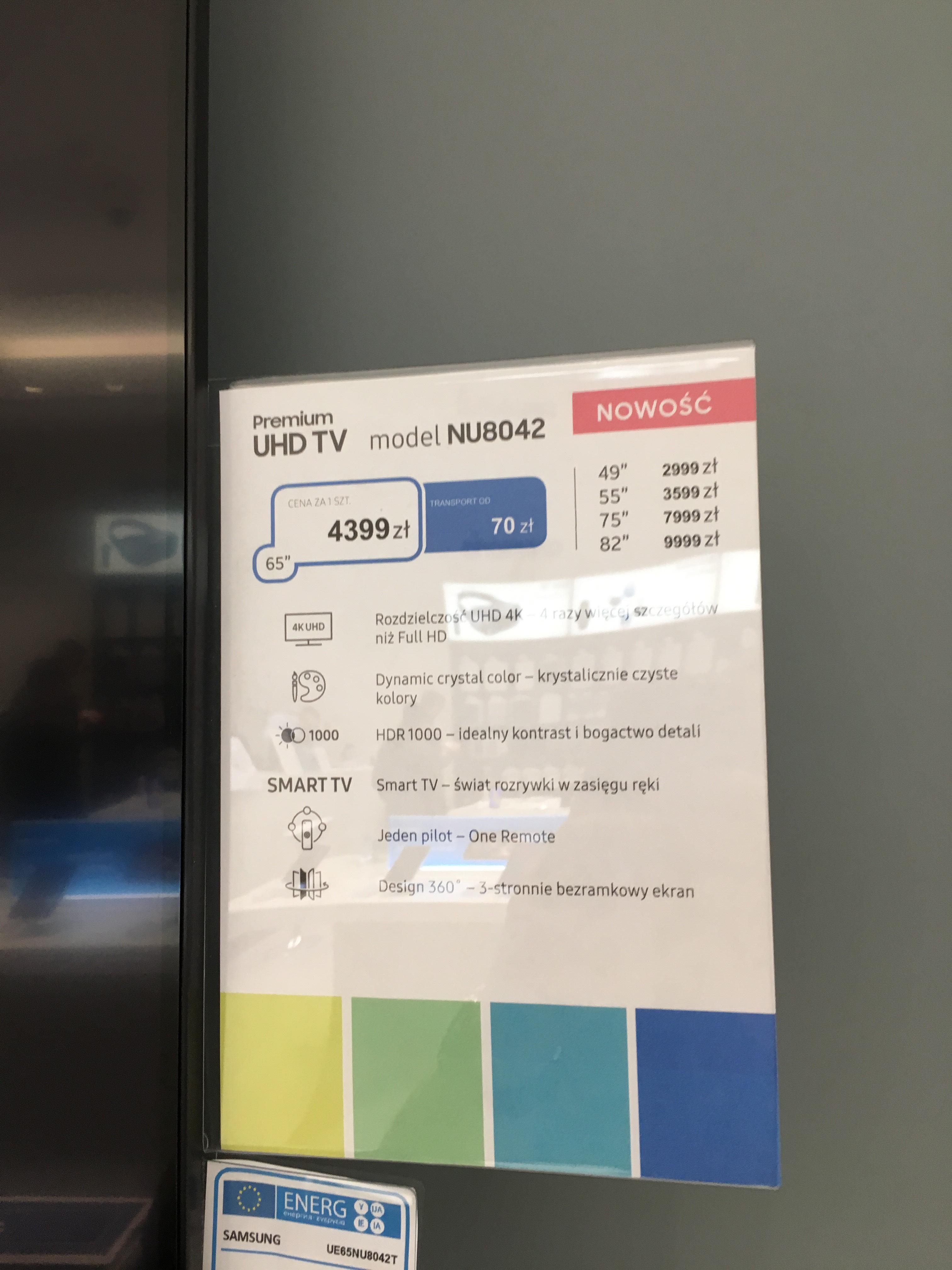 Samsung UE65NU8042 z 5 letnia gwarancja. Salony Samsung