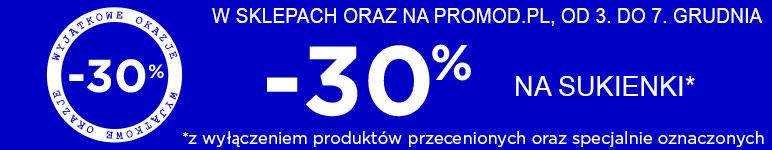 -30% na sukienki i koszule męskie @ Promod