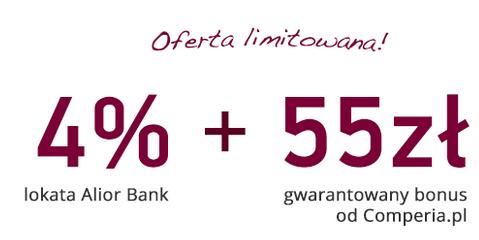 55 zł za założenie konta z lokatą 4% w Alior Banku