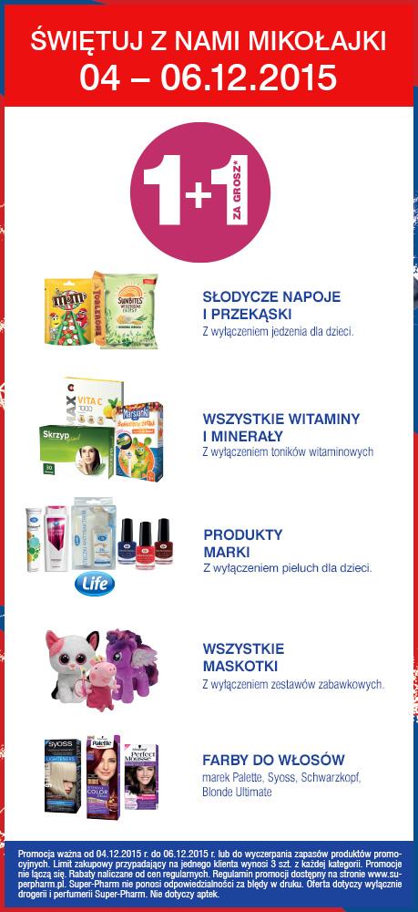 Mikołajkowa promocja-drugi produkt za GROSZ (maskotki, farby do włosów, witaminy, przekąski) @ Super-Pharm