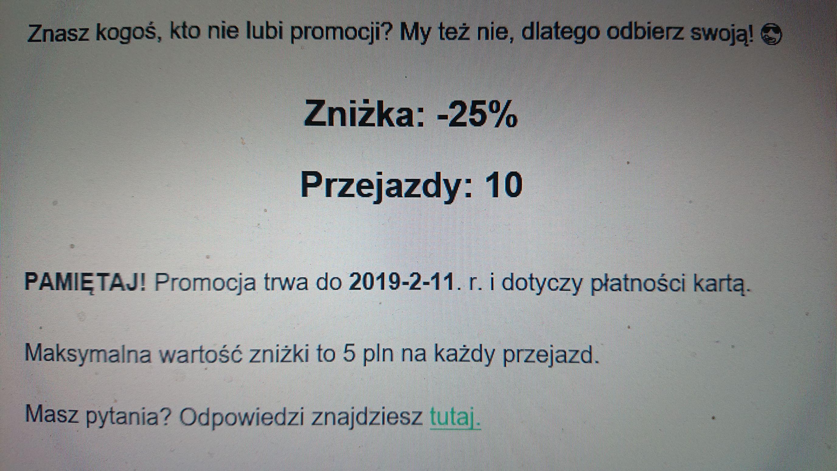 Taxify - 25% max 5 zł