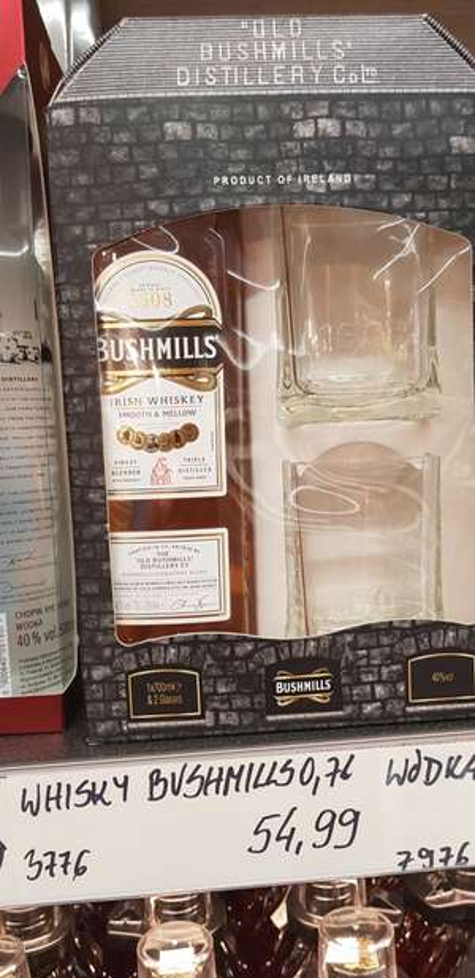 Bushmills Irish Whiskey 700ml + 2 szklanki Aldi Gocław