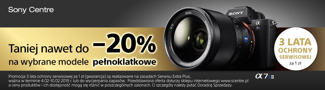Obniżka ceny + 3 lata gwarancji na uszkodzenia mechaniczne do aparatów Sony