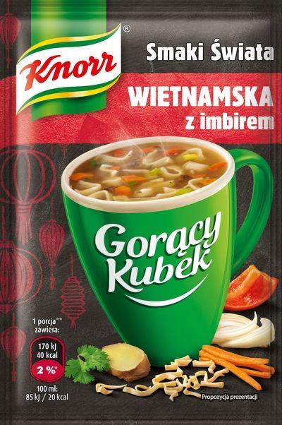 Gorący kubek Knorr , zupka Wietnamska z imbirem, Żabka