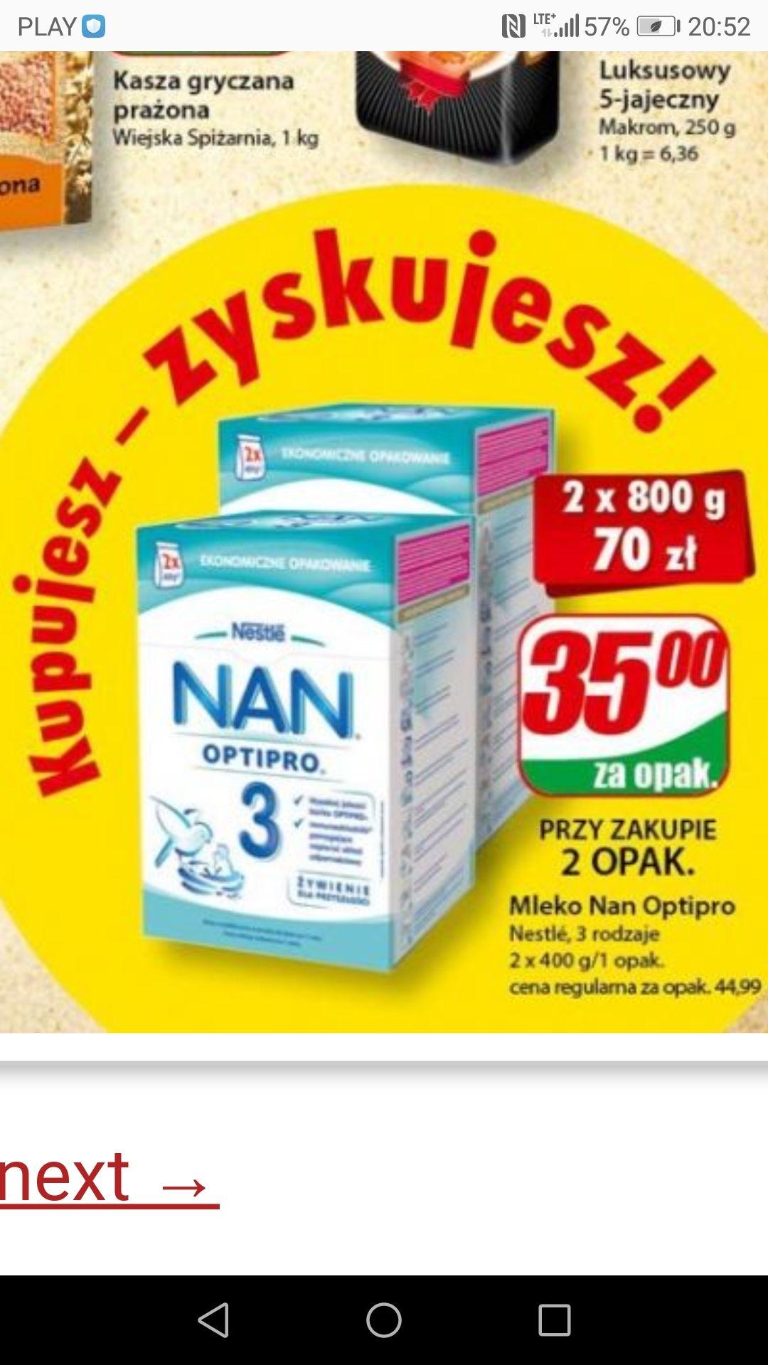Mleko NAN Optipro 2, 3, 4 przy zakupie dwóch opakowań (2x800g) DINO