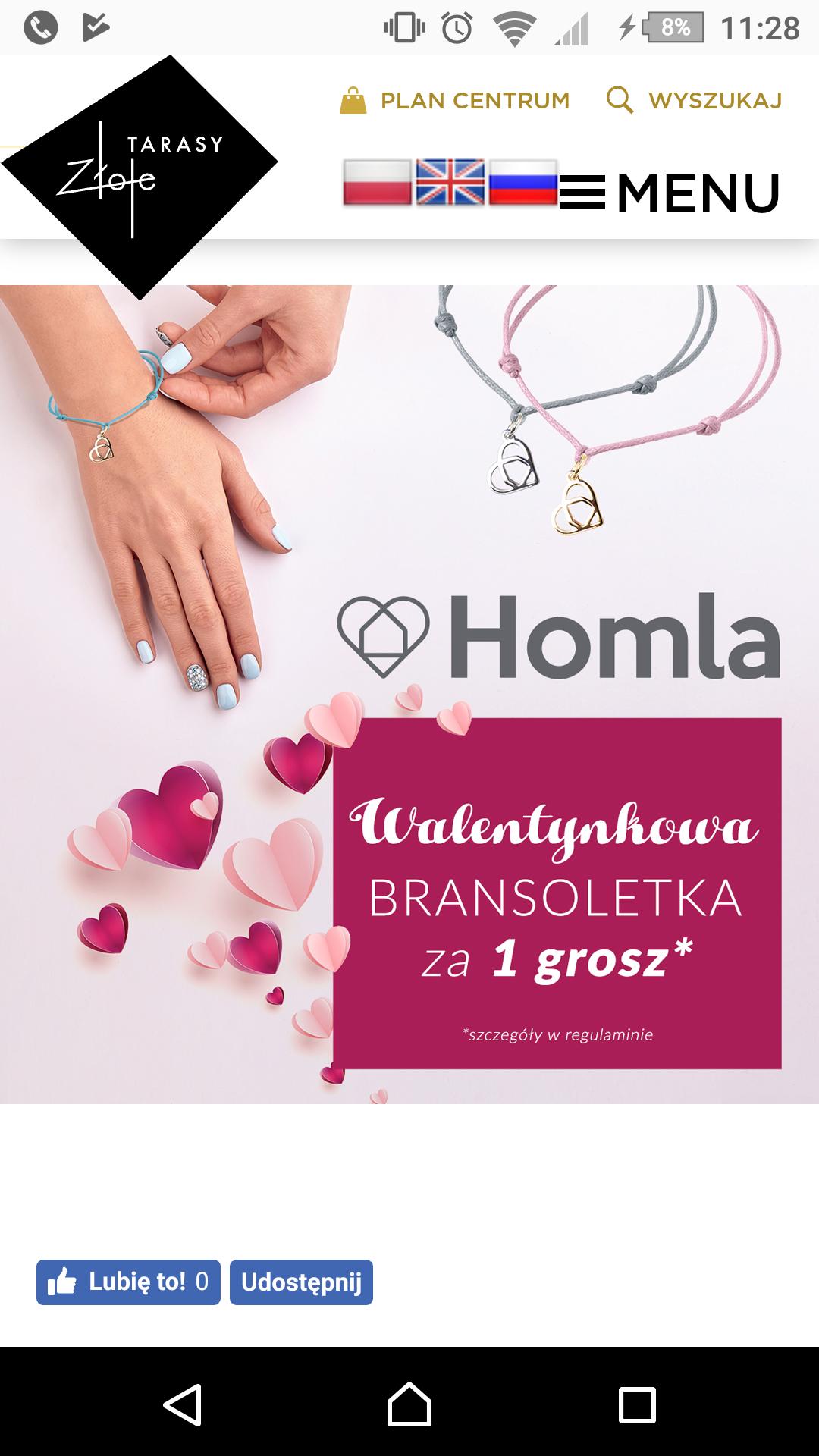 Bransoletka walentynkowa za 1 gr. HOMLA Złote Tarasy Warszawa