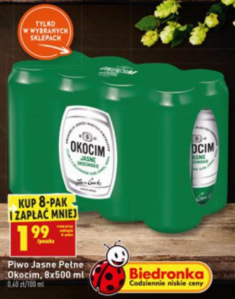 Piwo Okocim Jasne Okocimskie 8-pak - Biedronka