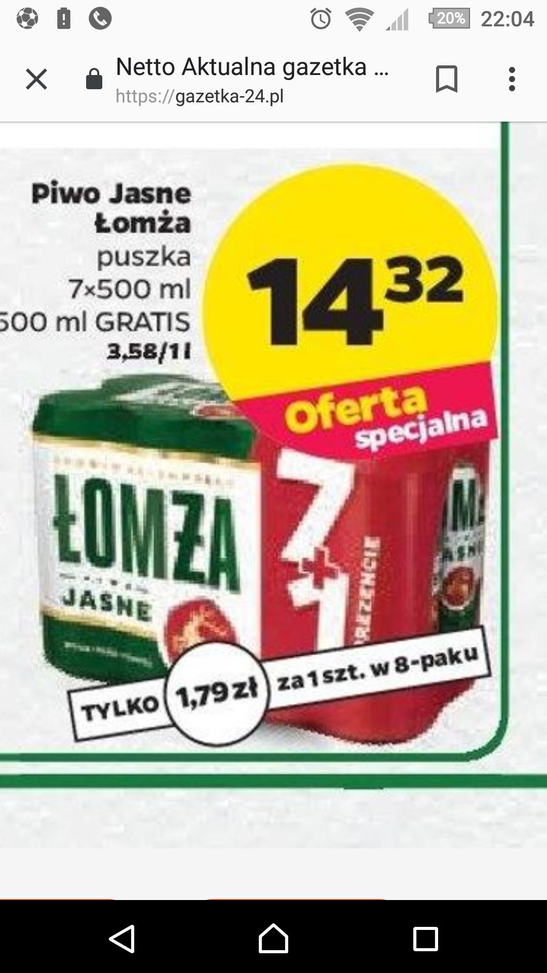 Łomża Piwo jasne 8 x 500 ml Netto