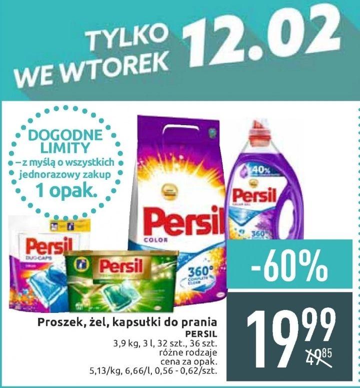 Persil: proszek 3,9kg lub żel 3L (tylko 0,33zł za pranie), kapsułki 32-36szt. (0,56-0,62zł za pranie) @ Carrefour