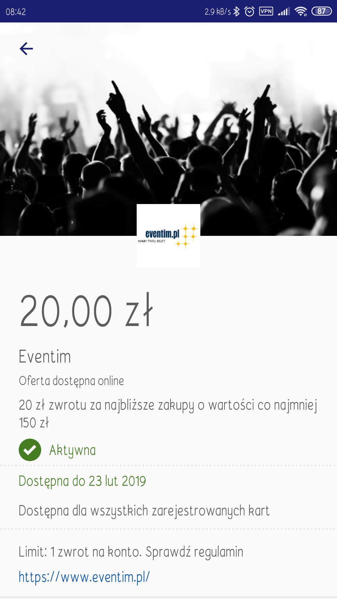 Visa oferty - Eventim 20 zł - zwrotu za najbliższe zakupy o wartości co najmniej 150 zł
