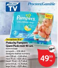 Pieluchy Pampers Giant Pack za 49,99zł (cena za pieluchę od 46gr) @ Tesco
