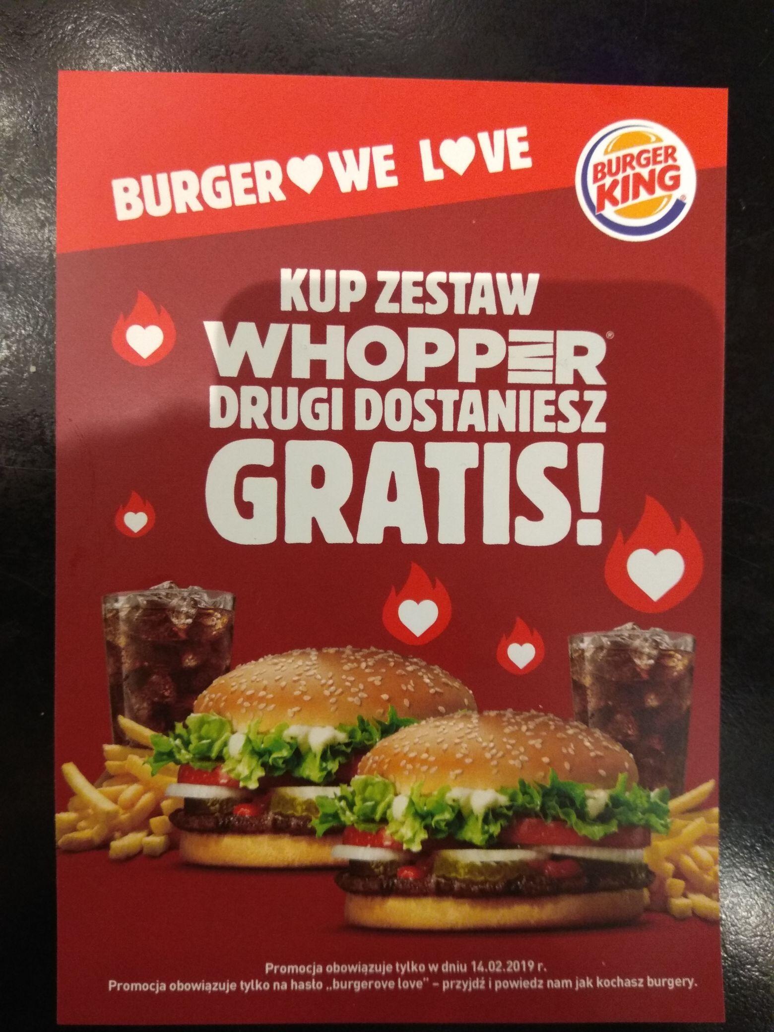 BURGER KING, KUP ZESTAW WHOPPER, DRUGI DOSTANIESZ GRATIS