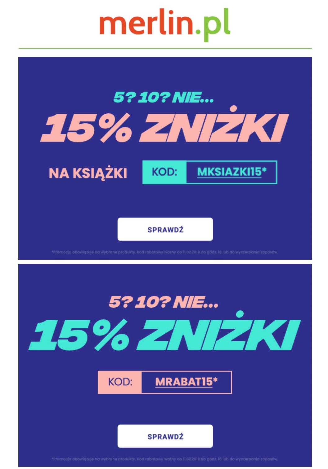 Dodatkowy rabat 15% na merlin.pl na wybrane planszowki, gry, zabawki i LEGO.