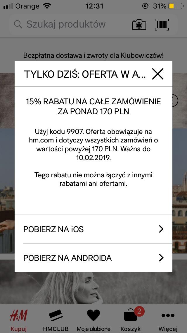 15% zniżki w aplikacji H&M MWZ 170 zł
