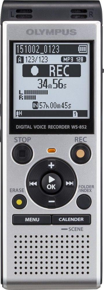 dyktafon cyfrowy stereo Olympus  WS-852 srebrny, 4GB