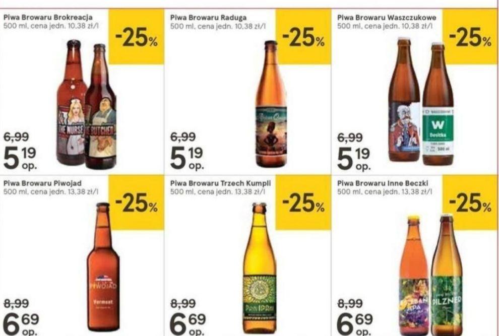 Piwa kraftowe 25% taniej (Trzech Kumpli, Raduga, Brokreacja, Inne Beczki, Waszczukowe, Piwojad) @Tesco