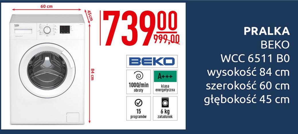 Pralka Beko WCC 6511 za 739zł @ Carrefour