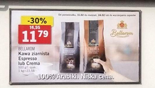 Lidl kawa espresso oraz crema 100% arabika, cena za opakowanie czyli 500g