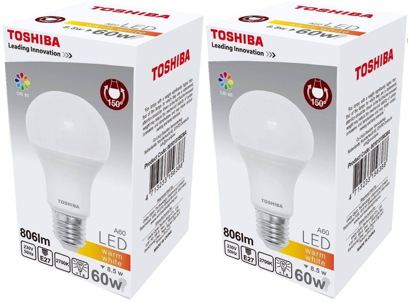Dwie żarówki LED Toshiba w cenie jednej 8.5W/60W gwint E27