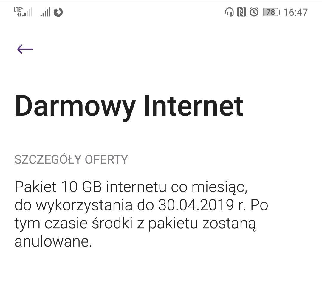 Darmowe 10gb internetu co miesiąc do końca kwietnia w Play
